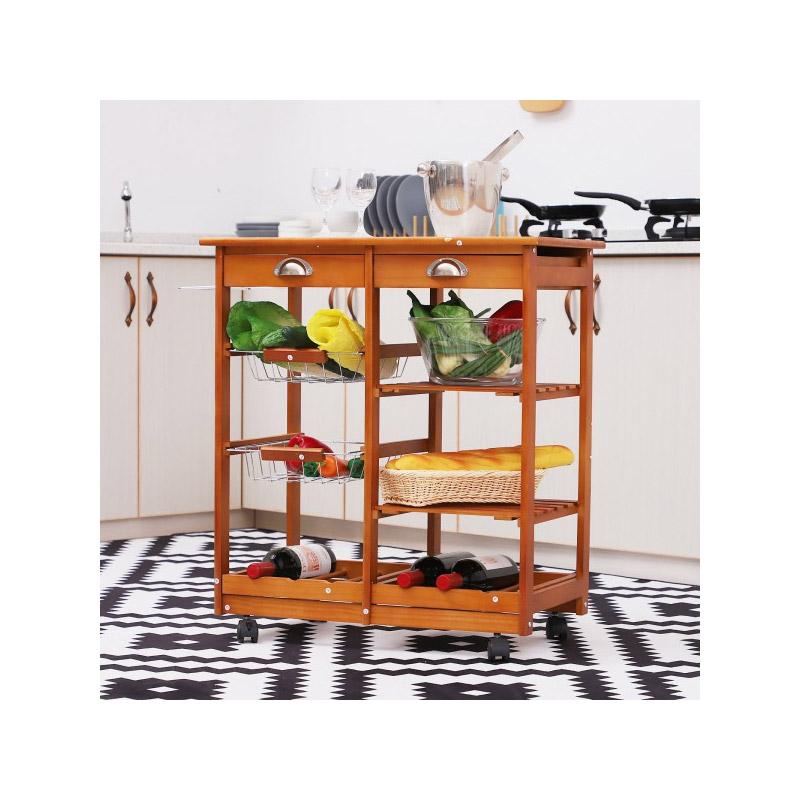 Ξύλινο Τρόλεϊ Κουζίνας με 4 Ράφια και 2 Συρτάρια 74 x 37 x 75 cm HOMCOM 05-0020