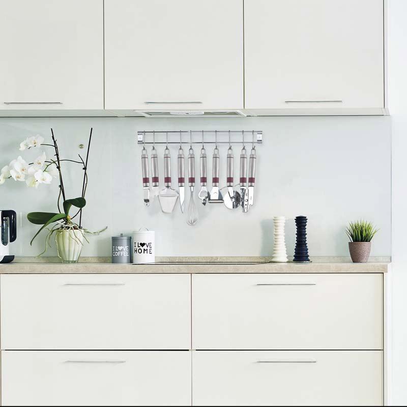 Σετ Εργαλεία Κουζίνας 8 τμχ από Ανοξείδωτο Ατσάλι με Επιτοίχια Βάση XSQUO 8480113848751