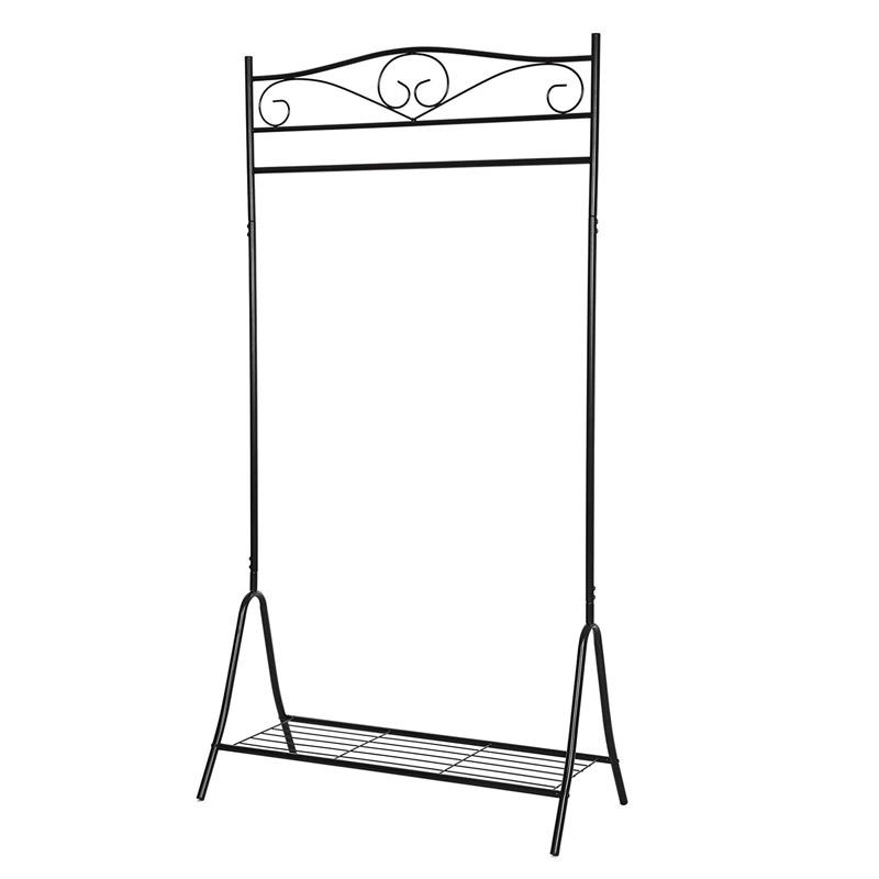 Μεταλλική Κρεμάστρα Ρούχων Δαπέδου 90 x 173 x 44.5 cm με 1 Ράφι Χρώματος Μαύρο Songmics HSR01B