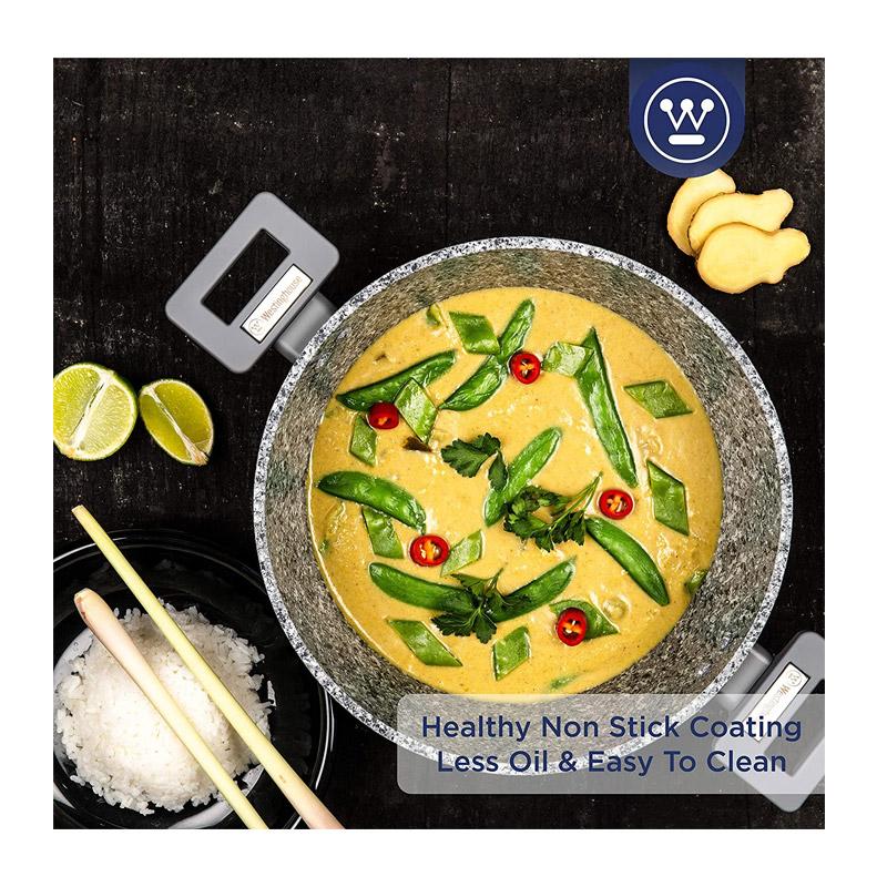 Αντικολλητική Κατσαρόλα με Γυάλινο Καπάκι και Φινίρισμα Γρανίτη 28 cm Westinghouse WCCC0070028GGY
