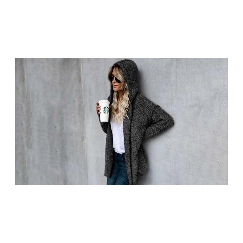 Γυναικεία Χνουδωτή Ζακέτα με Κουκούλα Χρώματος Σκούρο Γκρι Large SPM DB3979