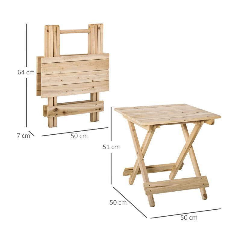Πτυσσόμενο Ξύλινο Τετράγωνο Τραπέζι Εσωτερικού και Εξωτερικού Χώρου 50 x 50 x 51 cm Outsunny 84B-495