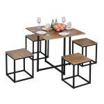 Σετ Μεταλλικό Τετράγωνο Τραπέζι - Bar 80 x 80 x75.5 cm με 4 Σκαμπό HOMCOM 835-083V01