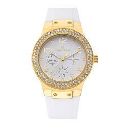 Γυναικείο Ρολόι Χρώματος Χρυσό με Άσπρο Λουράκι Σιλικόνης και Κρύσταλλα Swarovski® Timothy Stone F-014-GDWH