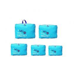 Σετ 5 Αδιάβροχα Τσαντάκια Ταξιδίου σε Διάφορα Μεγέθη Χρώματος Μπλε 5pcluggorgan-blue