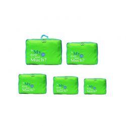 Σετ 5 Αδιάβροχα Τσαντάκια Ταξιδίου σε Διάφορα Μεγέθη Χρώματος Πράσινο 5pcluggorgan-green