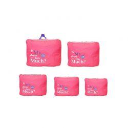 Σετ 5 Αδιάβροχα Τσαντάκια Ταξιδίου σε Διάφορα Μεγέθη Χρώματος Ροζ 5pcluggorgan-pink