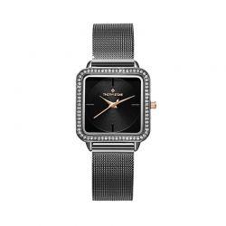 Γυναικείο Ρολόι Χρώματος Μαύρο με Μεταλλικό Μπρασελέ και Κρύσταλλα Swarovski® Timothy Stone Quartet Collection Q-021-ALBK
