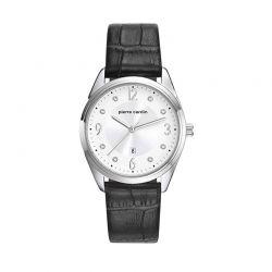 Γυναικείο Ρολόι Χρώματος Ασημί με Μαύρο Δερμάτινο Λουράκι Pierre Cardin Bourse PC107862F01