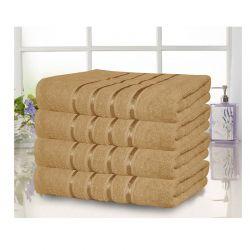 Σετ 4 Πετσέτες Σώματος με Ρίγα Dickens από 100% Βαμβάκι Χρώματος Μπεζ DLUSH-LUXE-4BI
