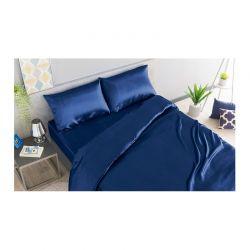 Σετ Παπλωματοθήκη με Μαξιλαροθήκες και Σεντόνι Σατέν 140 x 190 + 30 cm Διπλό Χρώματος Μπλε SPM 30101024