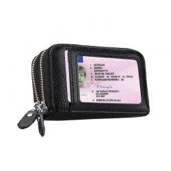 Δερμάτινο Γυναικείο Πορτοφόλι με Αντικλεπτική Προστασία RFID Χρώματος Μαύρο SPM DB4789