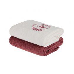 Σετ με 2 Πετσέτες Προσώπου 50 x 90 cm Χρώματος Μπεζ - Μπορντό Beverly Hills Polo Club 355BHP2239