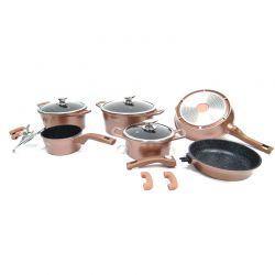 Σετ Μαγειρικών Σκευών με Αντικολλητική Μαρμάρινη Επίστρωση 14 τμχ Χρώματος Copper Royalty Line RL-ES2014M