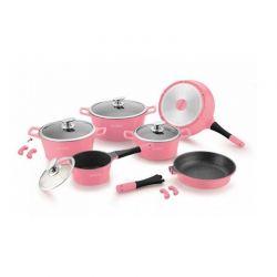 Σετ Μαγειρικών Σκευών με Αντικολλητική Μαρμάρινη Επίστρωση 14 τμχ Χρώματος Ροζ Royalty Line RL-ES1014M