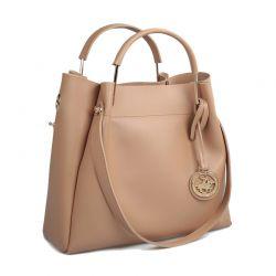 Γυναικεία Τσάντα Χειρός Χρώματος Camel Beverly Hills Polo Club 396 657BHP0574