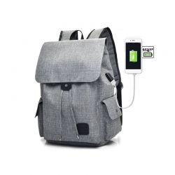 Σακίδιο Πλάτης με Θύρα Φόρτισης USB Χρώματος Γκρι Kequ K-343