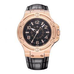 Ανδρικό Ρολόι με Μαύρο Δερμάτινο Λουράκι Timothy Stone M-015-RGBK