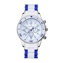 Γυναικείο Ρολόι Χρώματος Λευκό με Λευκό - Μπλε Λουράκι Σιλικόνης Timothy Stone A-022-BLWSL