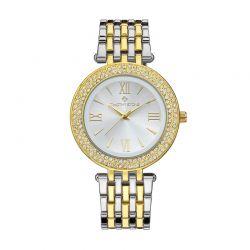 Γυναικείο Ρολόι Χρώματος Χρυσό και Ασημί με Μεταλλικό Δίχρωμο Μπρασελέ και Κρύσταλλα Swarovski® Timothy Stone B-022-ALGLSL