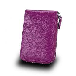 Δερμάτινο Πορτοφόλι για 11 Πιστωτικές Κάρτες με Αντικλεπτική Προστασία RFID Χρώματος Μωβ SPM DYN-SlotWatter PRPL