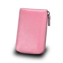 Δερμάτινο Πορτοφόλι για 11 Πιστωτικές Κάρτες με Αντικλεπτική Προστασία RFID Χρώματος Ροζ SPM DYN-SlotWatter PNK