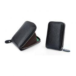 Δερμάτινο Πορτοφόλι για Πιστωτικές Κάρτες με Αντικλεπτική Προστασία RFID Χρώματος Μαύρο SPM DB5752