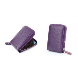 Δερμάτινο Πορτοφόλι για Πιστωτικές Κάρτες με Αντικλεπτική Προστασία RFID Χρώματος Μωβ SPM DB5754