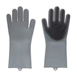 Γάντια Καθαρισμού με Ίνες Σιλικόνης Χρώματος Γκρι Hoppline HOP1000974-4