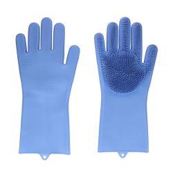 Γάντια Καθαρισμού με Ίνες Σιλικόνης Χρώματος Μπλε Hoppline HOP1000974-1