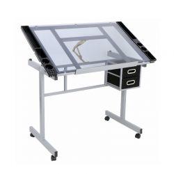 Μεταλλικό Γραφείο για Τεχνικό Σχέδιο με Ρυθμιζόμενη Γυάλινη Επιφάνεια 104 x 61.5 x 79.5 cm Hoppline HOP1000879-1