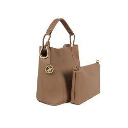 Γυναικεία Τσάντα Χειρός με Τσαντάκι Χρώματος Camel Beverly Hills Polo Club 397 650BHP0666