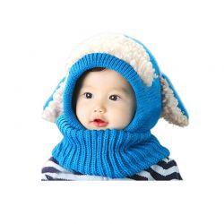 Παιδικό Πλεκτό Σκουφάκι με Αυτιά Χρώματος Μπλε SPM DYN-FluffyBean
