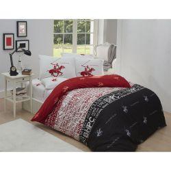 Σετ Διπλή Παπλωματοθήκη με Μαξιλαροθήκες και Σεντόνι 200 x 220 cm Beverly Hills Polo Club 004 Χρώματος Κόκκινο