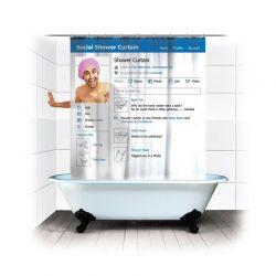 Κουρτίνα Μπάνιου με Κρίκους 180 x 180 cm Social Network MWS1472