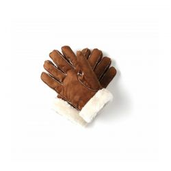 Γυναικεία Δερμάτινα Γάντια Μουτόν Χρώματος Καφέ Ανοιχτό Small SPM 8715342025650