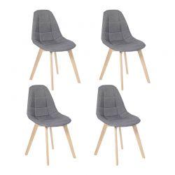 Σετ Καρέκλες με Ξύλινα Πόδια και Ύφασμα Gabriella 46.5 x 50 x 88.5 cm Χρώματος Γκρι 4 τμχ Idomya 30080192
