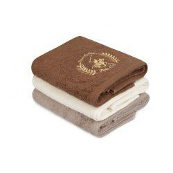 Σετ με 3 Πετσέτες Προσώπου 50 x 90 cm Χρώματος Κρεμ - Καφέ Beverly Hills Polo Club 355BHP2304
