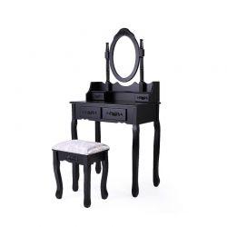 Ξύλινο Μπουντουάρ Με Καθρέπτη και Σκαμπό 75 x 40 x 138.8 cm Χρώματος Μαύρο Hoppline HOP1000943-2