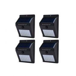 Σετ Ηλιακοί Προβολείς με 12 LED και Αισθητήρα Φωτός 4 τμχ Hoppline HOP1000962-1