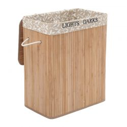 Πτυσσόμενο Καλάθι Απλύτων από Μπαμπού με 2 Χώρους 100 Lt Songmics LCB62Y