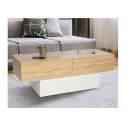 Ξύλινο Τραπέζι Σαλονιού με Συρόμενη Επιφάνεια 120 x 50 x 43 cm Χρώματος Λευκό Cleo Idomya 30084249