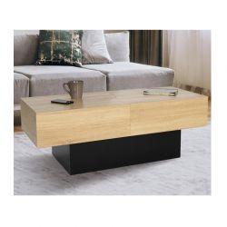 Ξύλινο Τραπέζι Σαλονιού με Συρόμενη Επιφάνεια 120 x 50 x 43 cm Χρώματος Μαύρο Cleo Idomya 30084248