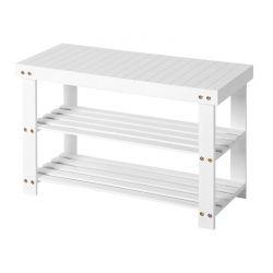 Ξύλινη Παπουτσοθήκη με 2 Ράφια και Πάγκο 70 x 28 x 45 cm Χρώματος Λευκό Songmics LBS04B