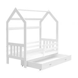 Ξύλινο Παιδικό Μονό Κρεβάτι - Σπίτι Montessori με Στρώμα και 1 Συρτάρι 160 x 80 cm SPM JAN-DOMEK160