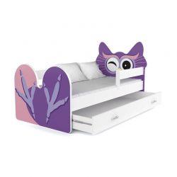 Ξύλινο Παιδικό Μονό Κρεβάτι με Στρώμα και 1 Συρτάρι 163 x 85 cm Owl SPM JAN-BED160-O