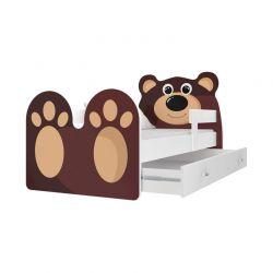 Ξύλινο Παιδικό Μονό Κρεβάτι με Στρώμα και 1 Συρτάρι 183 x 85 cm Bear SPM JAN-BED180-B