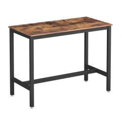 Μεταλλικό Ορθογώνιο Τραπέζι – Bar Χρώματος Σκούρο Καφέ 120 x 60 x 90 cm VASAGLE LBT91X