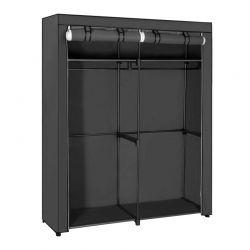 Φορητή Υφασμάτινη Ντουλάπα με Μεταλλικό Σκελετό Χρώματος Μαύρο 140 x 43 x 174 cm Songmics RYG02BK