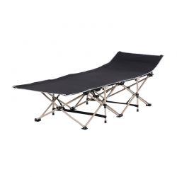 Πτυσσόμενη Μεταλλική Ξαπλώστρα - Κρεβάτι 190 x 68 x 52 cm Χρώματος Μαύρο Outsunny A20-116BK